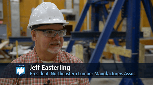 A screenshot from a video about lumber testing at the ASCC