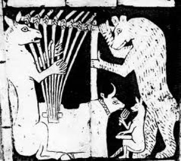 Sumerian ass and Harp after bas-relief