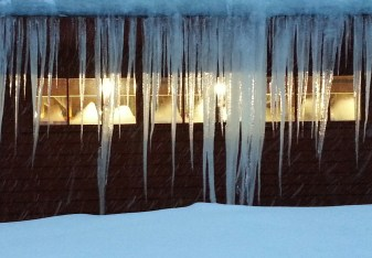 lights through icicles