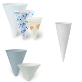 Dart Container Bare® by Solo® Eco-Forward® Treated Paper Cone Cups, Funnel Cups & Cone Jackets – White, Bare, & Paragon Designs