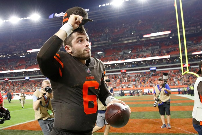 "CLEVELAND, OH-SEPTEMBER 20: Cleveland Browns baker Mayfield # 6 runs off the field after a 21-17 victory over the New York Jets at FirstEnergy Stadium on September 20, 2018 in Cleveland, Ohio. (Photo by Joe Robbins / Getty Images) ""srcset ="" https://compote.slate.com/images/075d07c5-b7c9-48a2-8c8d-4111497dc1a6.jpeg?width=780&height=520&rect=3000x2000&offset=0x0 1x, https: //compote.slate.com/images/075d07c5-b7c9-48a2-8c8d-4111497dc1a6.jpeg?width=780&height=520&rect=3000x2000&offset=0x0 2x"