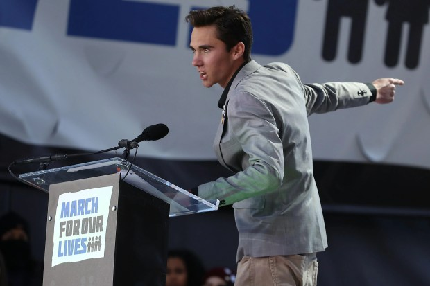 WASHINGTON, DC - MARCH 24:  Marjory Stoneman Douglas High School student David Hogg speaks during the March for Our Lives rally on March 24, 2018 in Washington, DC. More than 800 March for Our Lives events, organized by survivors of the Parkland, Florida school shooting on February 14 that left 17 dead, are taking place around the world to call for legislative action to address school safety and gun violence.  (Photo by Mark Wilson/Getty Images)