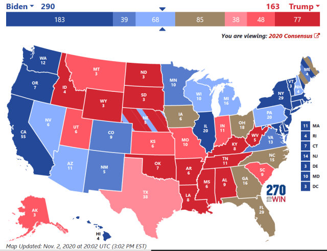 Electoral map from 270toWin.com