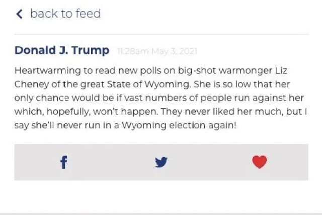 "Trump mocking Cheney for being a ""big-shot warmonger"" and having low poll numbers in a post."