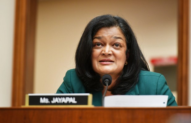Representative, Pramila Jaipal, D-WA, speaks during the House Judiciary Subcommittee on antitrust, commercial and administrative law hearings.