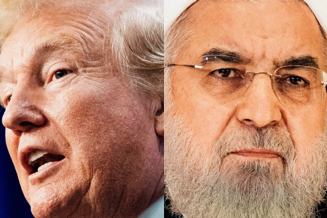 Diptych of Trump and Rouhani.