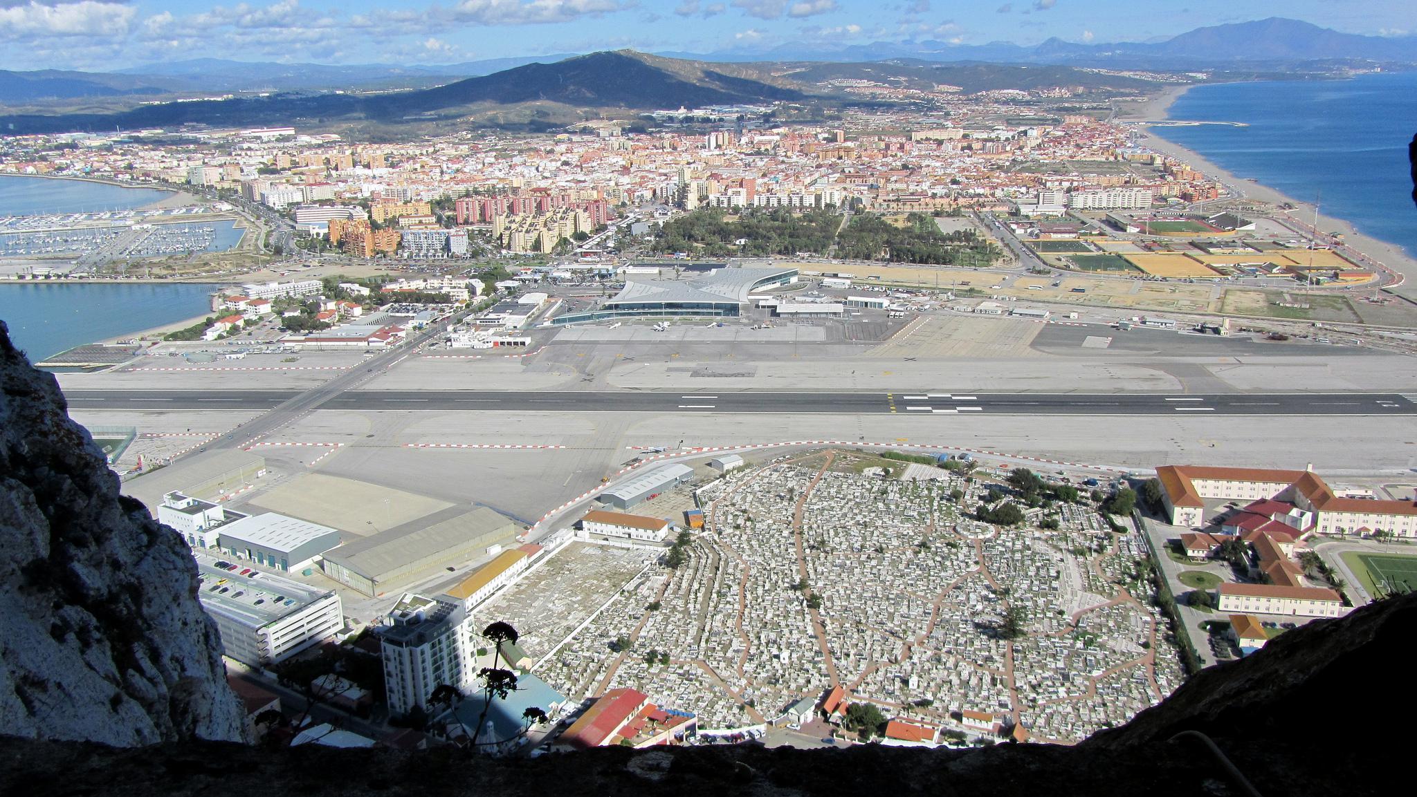 Gibraltar Airport. where a busy road runs through the runway