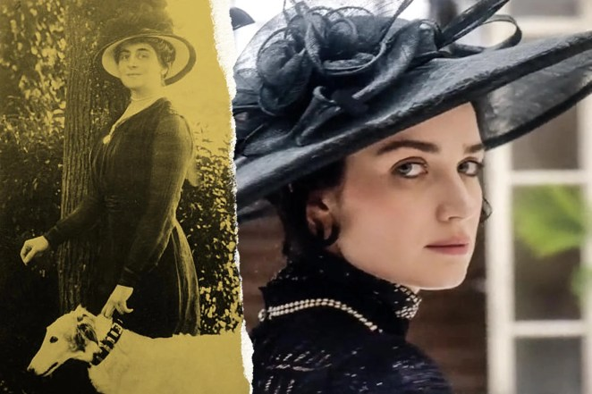 Anne Morgan and Eve Hewson, both with large hats. Morgan is holding a dog by the collar.