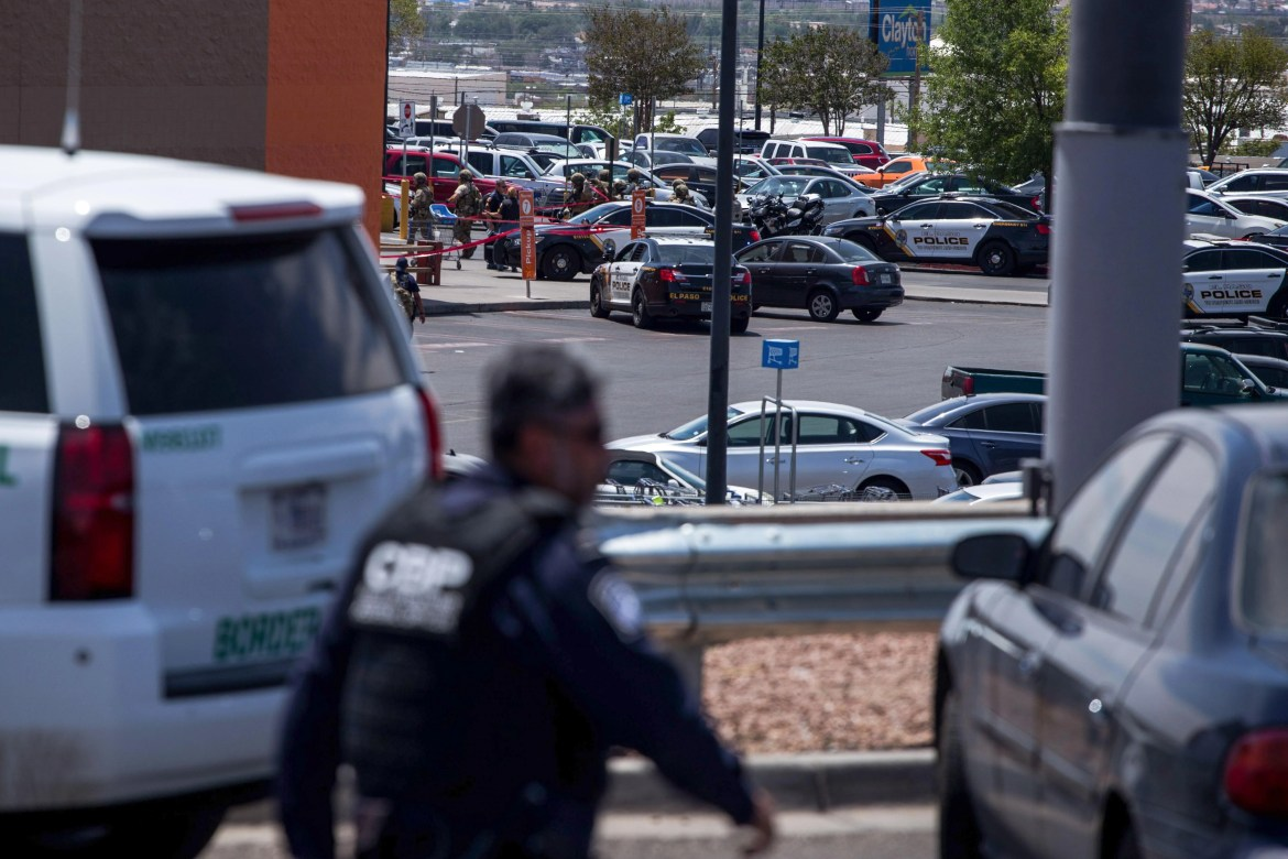 Law enforcement agencies respond to an active shooter at a Wal-Mart near Cielo Vista Mall in El Paso, Texas, Saturday, Aug. 3, 2019. - Police said there may be more than one suspect involved in an active shooter situation Saturday in El Paso, Texas. City police said on Twitter they had received