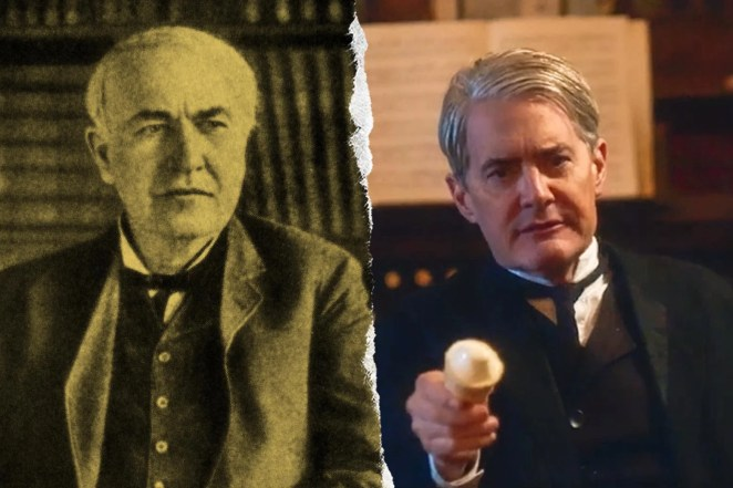 Thomas Edison and Kyle MacLachlan. MacLachlan is holding what appears to be a lightbulb.