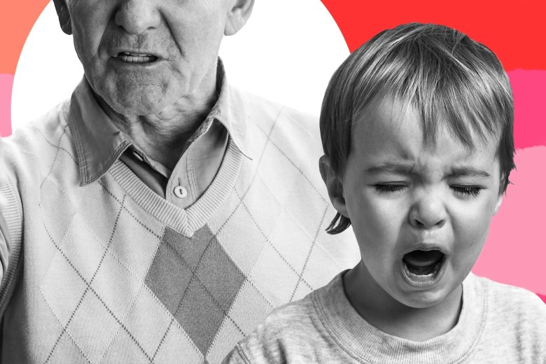 Photo illustration of an older man with a stern expression and a crying child.