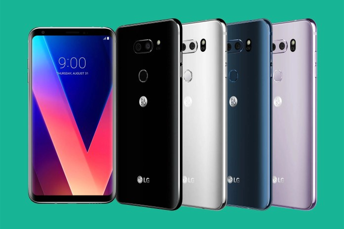 The LG V30 in various colors.