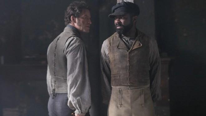 Dominic West as Jean Valjean and David Oyelowo as Javert.