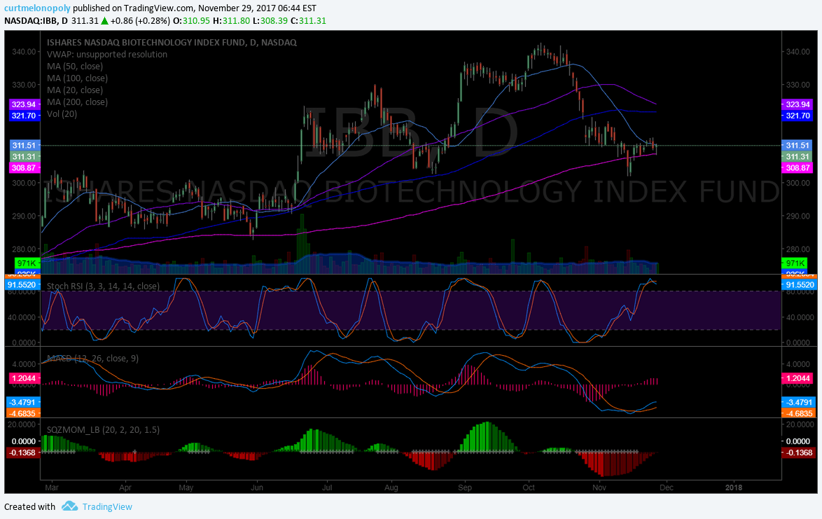 $IBB Could roast the bulls here. That Stoch RSI is not where it should be to bounce off 200 MA. But who knows. #swingtrading #premarket - Compound ...