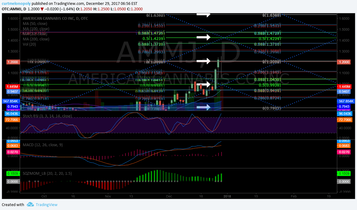 $AMMJ Timing your trade in American Cannabis. #swingtrading #chart - Compound Trading