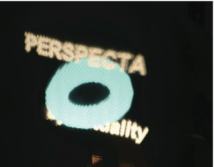 "A side view of the Perspecta Logo. Notice that the letters ""al"" are no longer occluded while the letters ""by"" are now occluded."