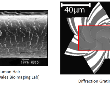 Ultra-Miniature Diffraction Gratings for Lensless Imaging
