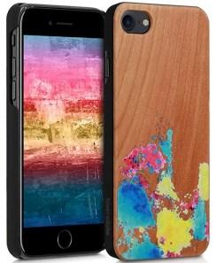 Funda Acuarelas kwmobile compatible con iPhone 7/8/SE(2020) - vista frontal y trasera