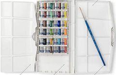 Caja de plástico de acuarelas winsor and newton con 24 pastillas y 1 pincel