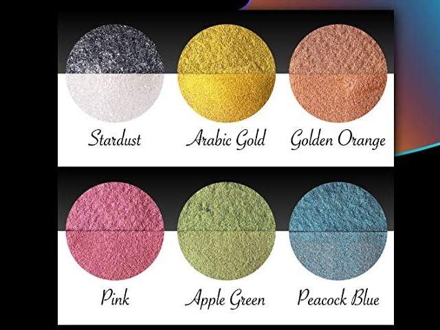 Acuarelas Metalizadas Coliro - Colores Perlados - Muestra de 6 colores - Portada