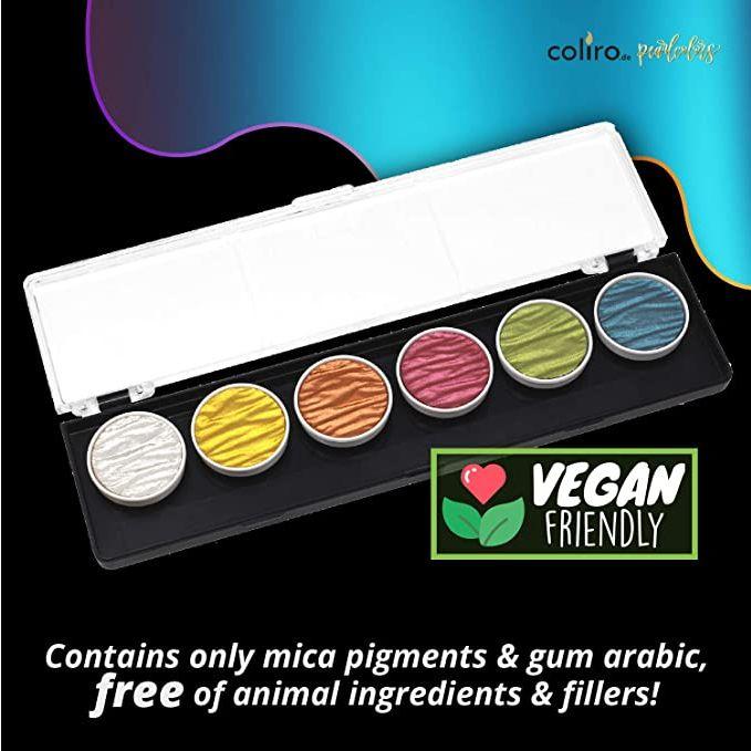Acuarelas Metalizadas Coliro - Vegan Friendly - Contiene únicamente pigmentos y goma arábiga sin ingredientes animales
