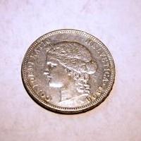 SUIZA 1908 5 FRANCOS B M.B.C+