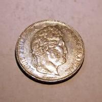 FRANCIA LUIS FELIPE I 1843 B 5 FRANCOS M.B.C +