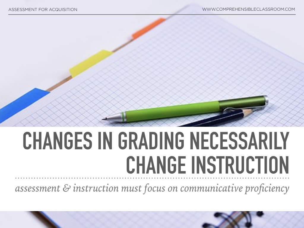 When you change the way you grade, you have to change you teach! If you grade for proficiency, your instructional practices must teach for proficiency. Teaching Spanish or any language!