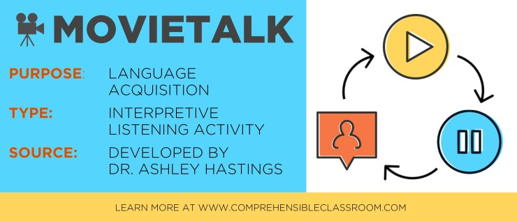 Movietalk is a powerful strategy that uses high interest films as a source of linguistic input for acquisition. One of the easiest and most fun strategies you can use to teach in the target language!