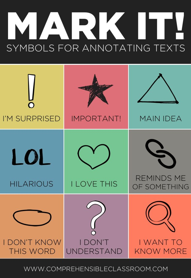 When students annotate a text while reading, it focuses their attention on meaning and personal connection. Train your students to use these symbols!