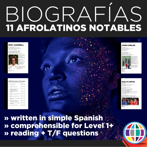 11 biographies of afrolatinos with comprehension activities