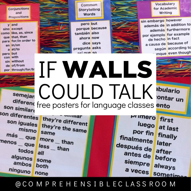 Must-have posters for spanish classes: Post important, small words on your language classroom walls to support comprehension!