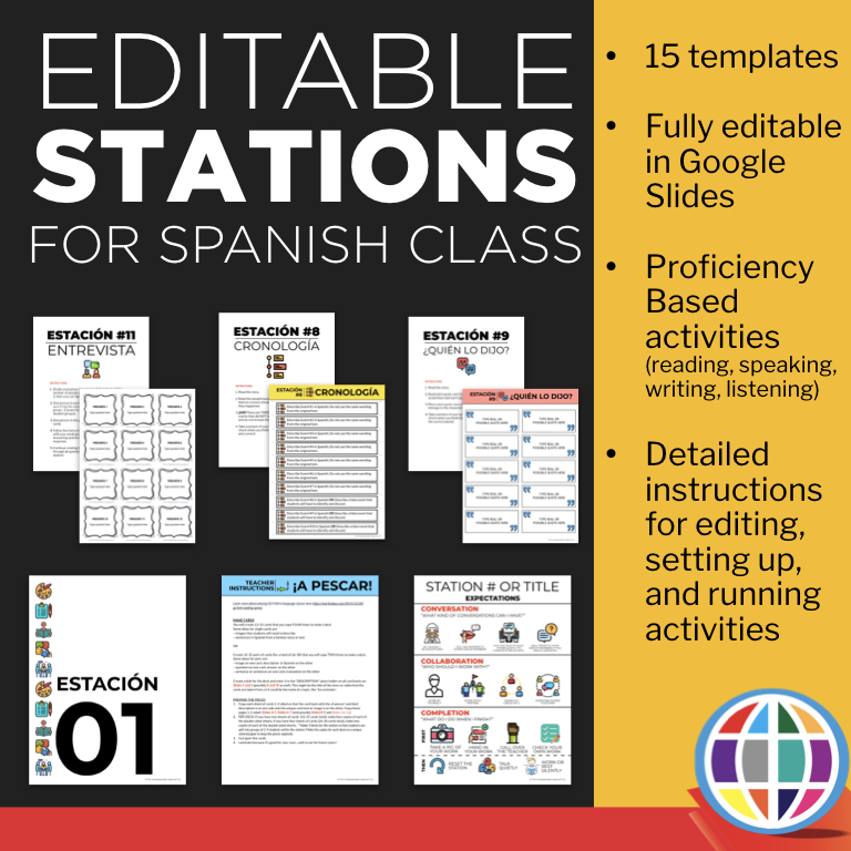 Get the Grab and Go form (along with 14+ others!) in this Editable stations pack for Spanish classes!