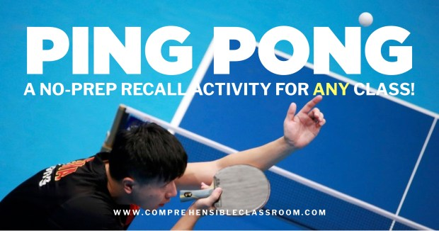 Ping Pong Recall is an easy, no-prep game invented by Cynthia Hitz that provides students with repeated exposure to a story or information about at topic.