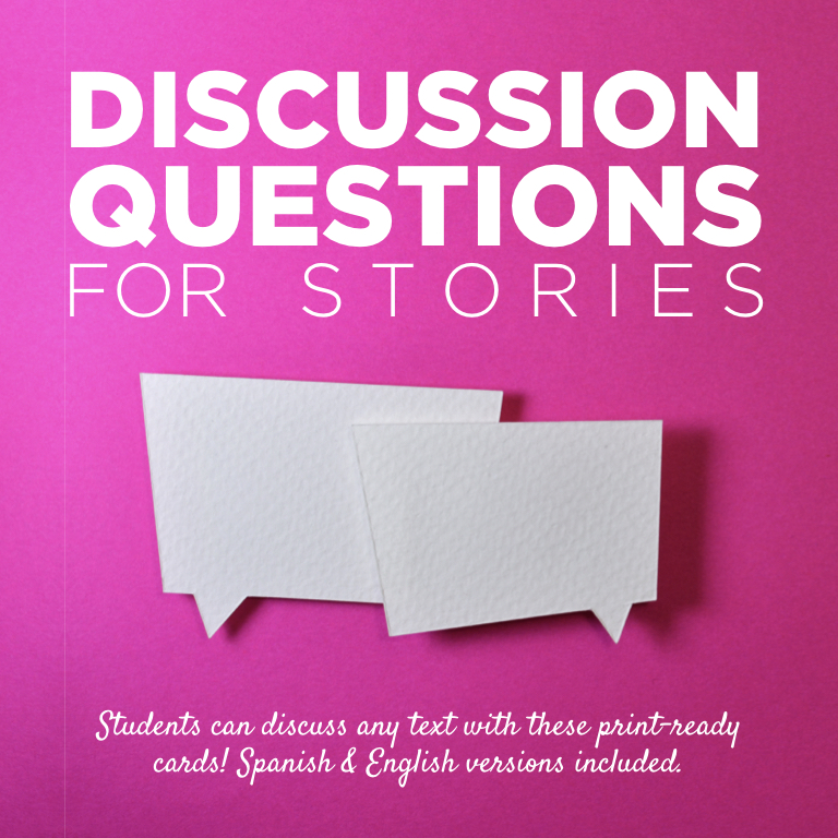 These discussion questions (Spanish & English) can be used to discuss ANY story. Two levels of questions are provided so that you can find questions that are an apprropriate match for your desired level of analysis for the text!