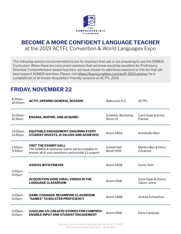 Download the recommended itinerary for SOMOS teachers for #ACTFL19