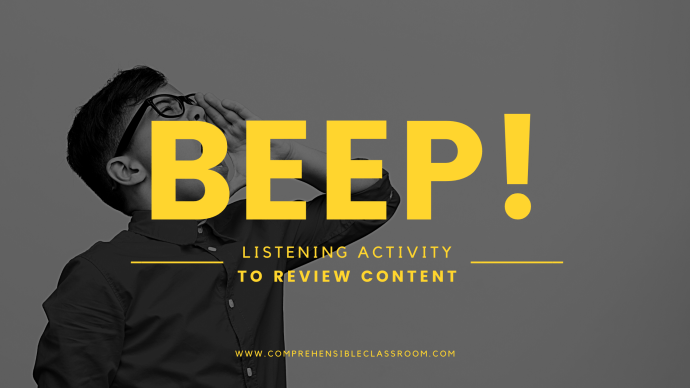 BEEP! is a listening activity to review content or a story.