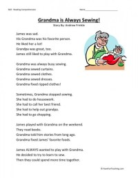 Reading Comprehension Worksheet - Grandma is Always Sewing