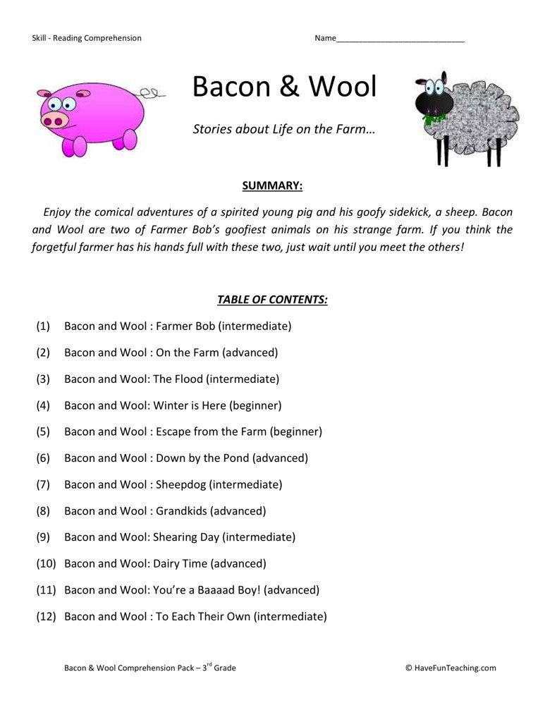 Farm Reading Comprehension Worksheets  The Best And Most Comprehensive Worksheets