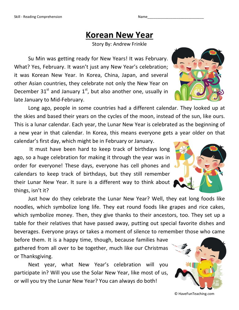 Reading Comprehension Worksheet  Korean New Year