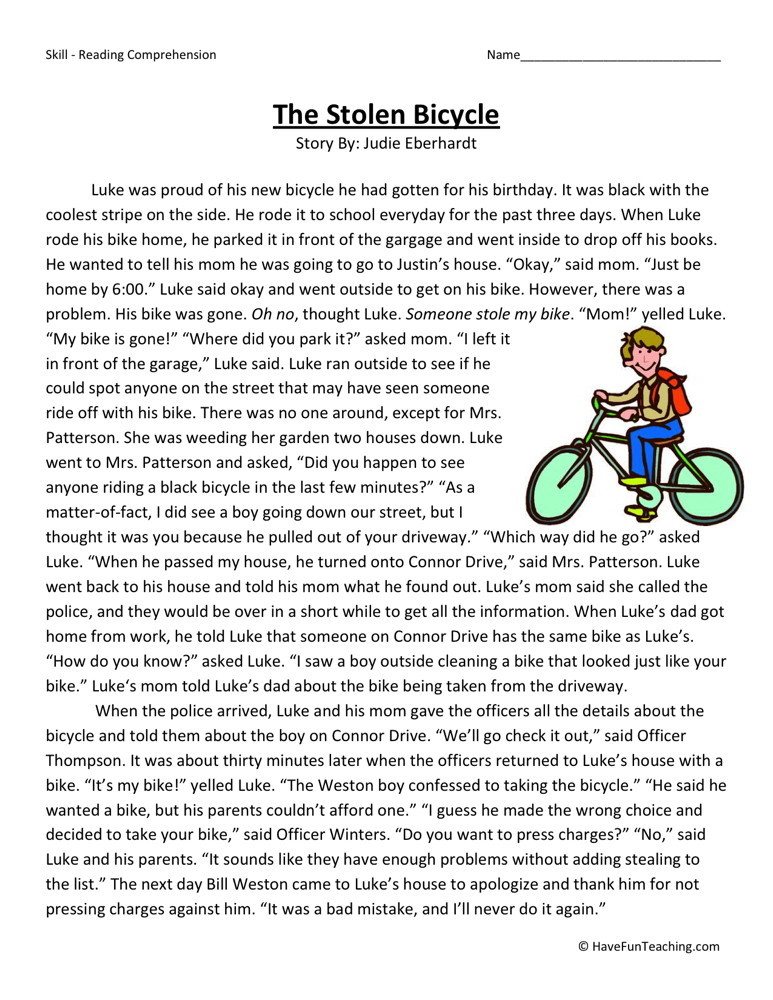 Reading Comprehension Worksheet  The Stolen Bicycle