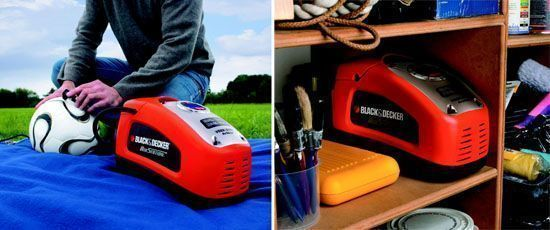 compresor de aire Black and Decker para balones - almacenamiento