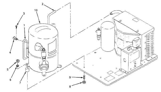 Figure 6-23. Condensing Unit Hermetic Compressor, Replace.
