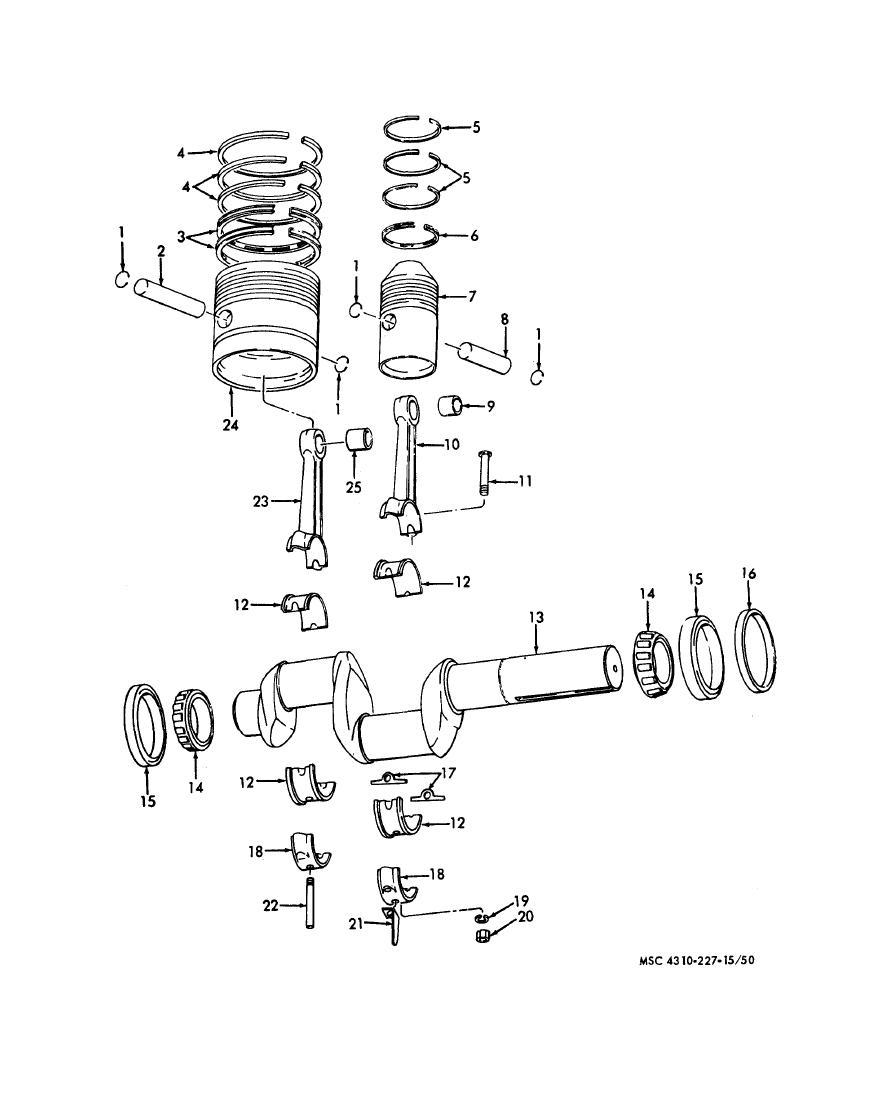 Figure 4-14. Piston, connecting rods, and crankshaft