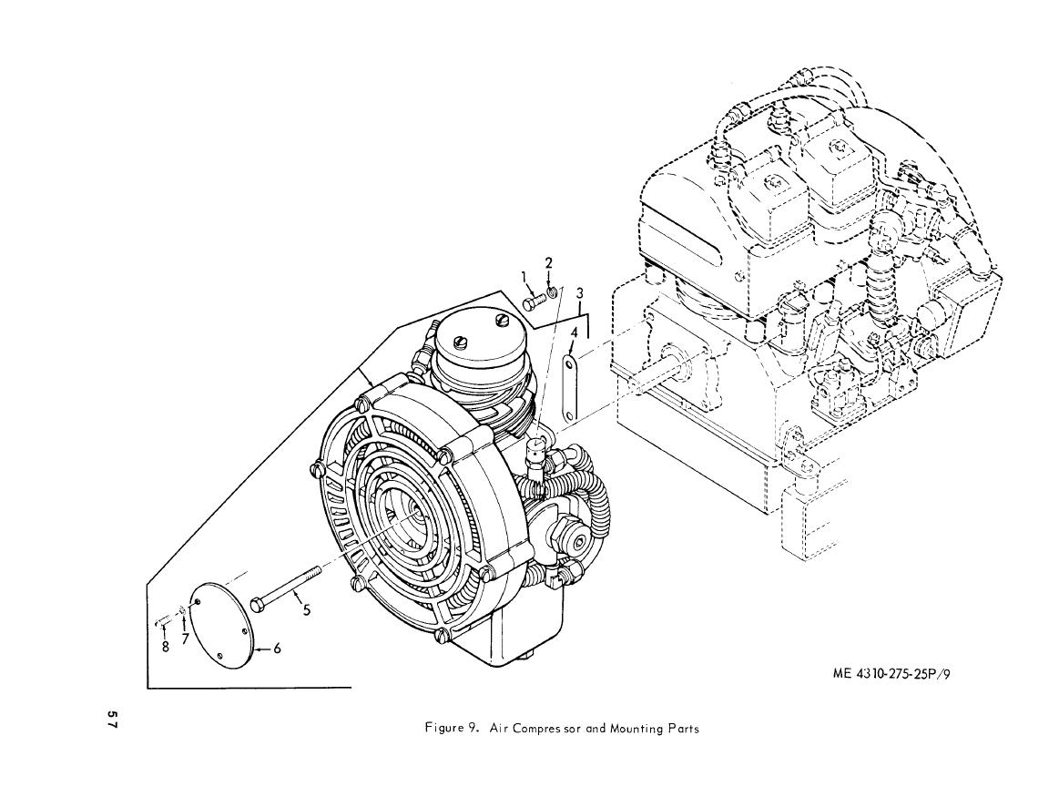 Figure 9. Air Compressor and Mounting Parts