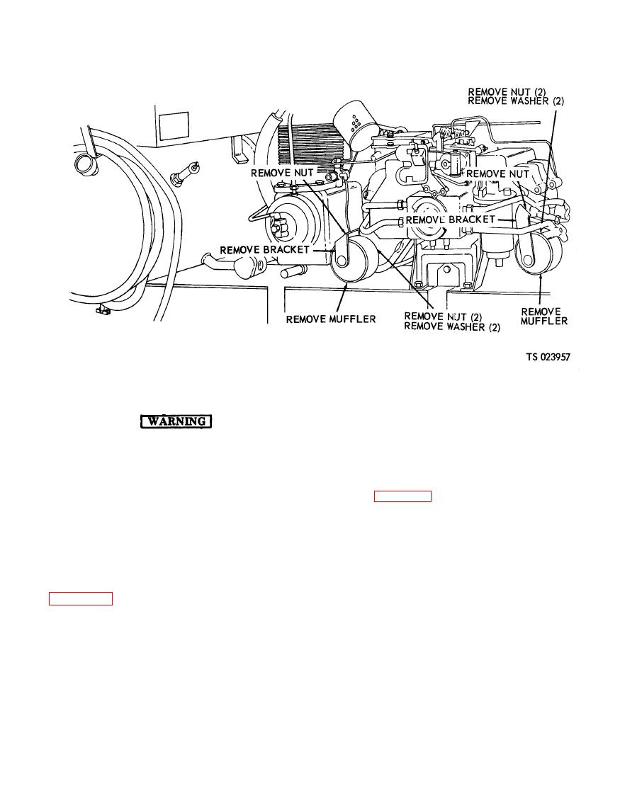 Figure 4-12. Engine muffler, removal and installation.