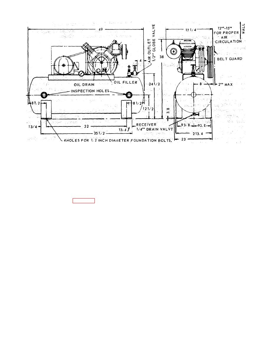 Figure 1-3 Air compressor mounting foundation dimensions.