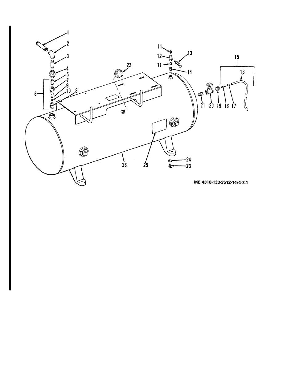 Figure 4-7.1. Air receiver, lines and fittings, model 20-277M