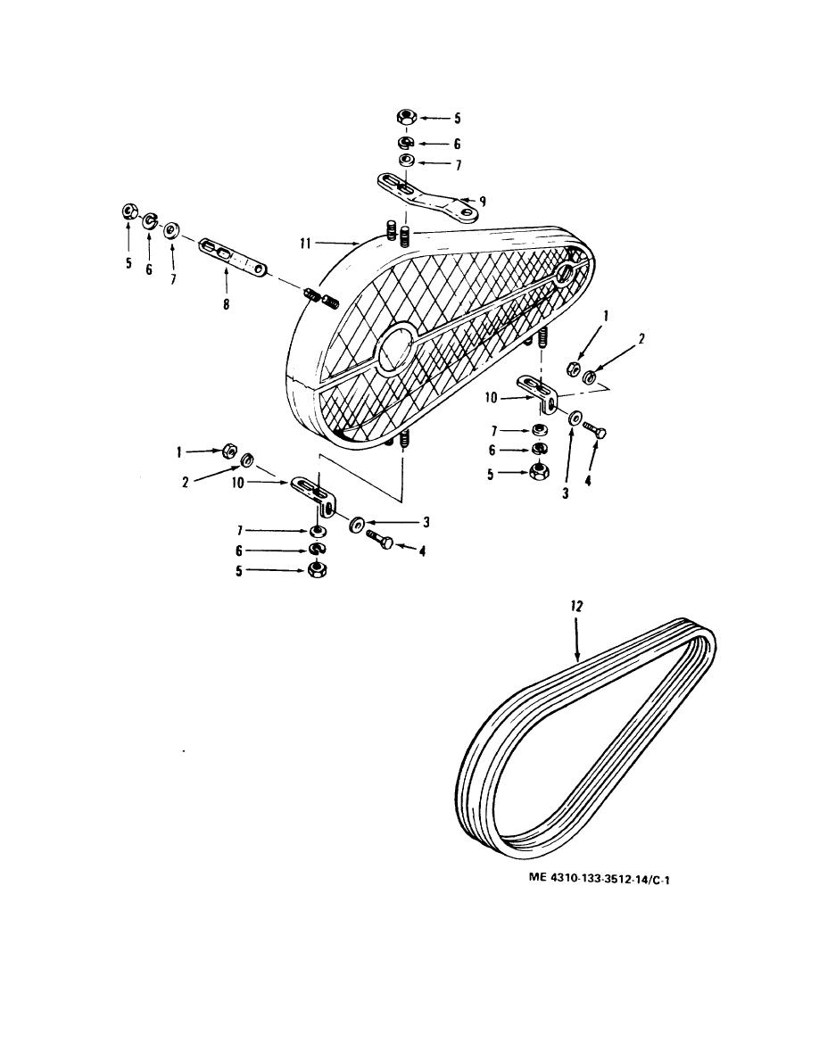 Figure C-1. Drive belts guard assembly, exploded view