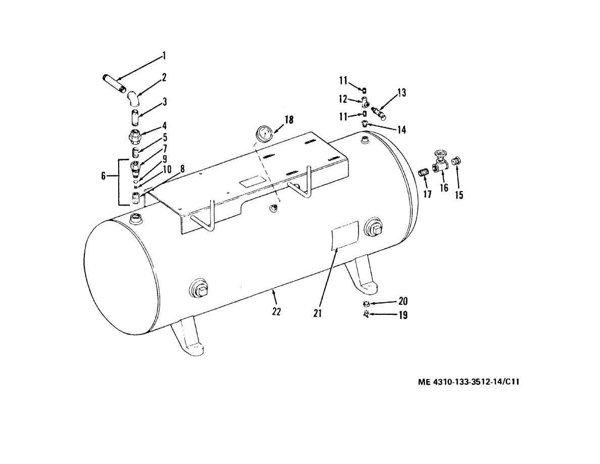 Figure C-11. Air receiver tank and related parts. (C. & H